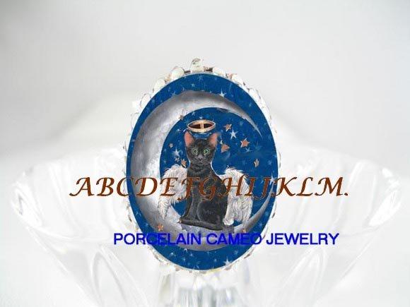 ANGEL BLACK CAT MOON STAR PORCELAIN CAMEO RING 5-9