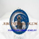 ANGEL BLACK CAT MOON STAR PORCELAIN CAMEO RING 5-9