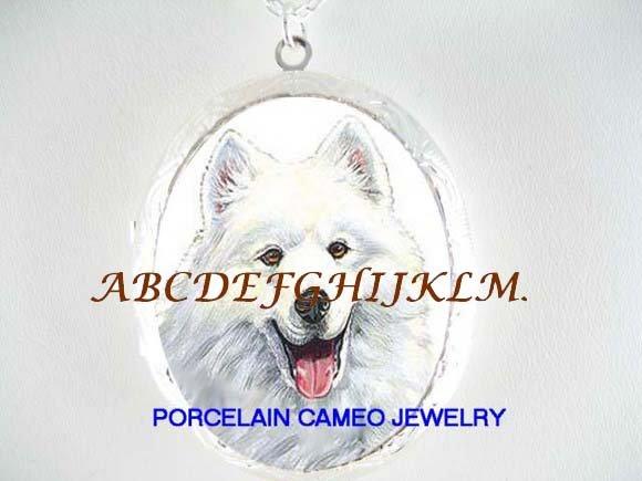 SMILING SAMOYED DOG CAMEO PORCELAIN LOCKET NECKALCE