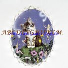 KITTY CAT WITH BUBBLE FAIRY PORCELAIN CAMEO PIN PENDANT