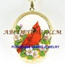 CARDINAL BIRD DOGWOOD PORCELAIN CAMEO LOCKET NECKLACE
