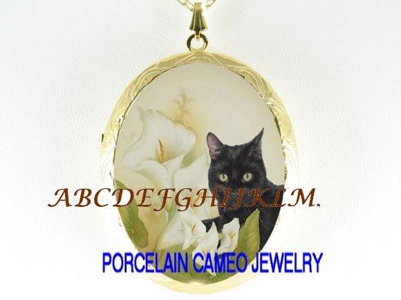BLACK CAT CALLA LILY CAMEO PORCELAIN LOCKET NECKLACE