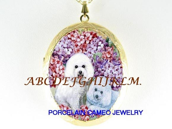 2 BICHON FRISE DOG HYDRANGEA PORCELAIN LOCKET NECKLACE