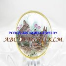 RABBIT BUNNY FAMILY BUTTERFLY PORCELAIN CAMEO RING 5-9