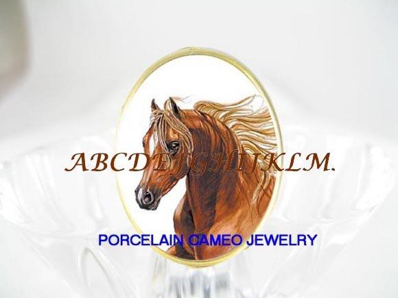 GOLDEN STALLION HORSE PORCELAIN CAMEO RING 5-9