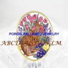 2 RABBIT BUNNY TULIPS VIOLET PORCELAIN CAMEO RING 5-9
