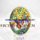 2 RABBIT BUNNY DAFFODIL VIOLET PORCELAIN CAMEO RING 5-9
