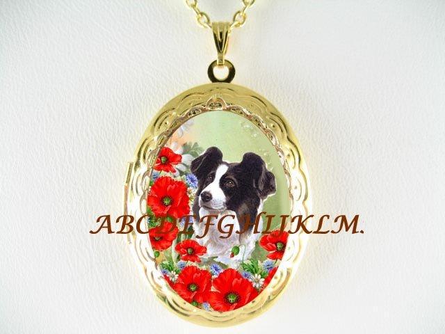 BORDER COLLIE DOG POPPY PORCELAIN CAMEO ANTIQUE VINTAGE LOCKET NECKLACE