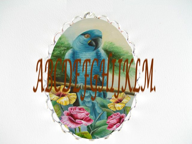 BLUE PARROT BIRD WITH ROSE HIBISCUS CAMEO PORCELAIN PENDANT PIN BROOCH