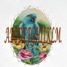 BLUE PARROT BIRD WITH ROSEHIBISCUS CAMEO PORCELAIN PENDANT PIN BROOCH