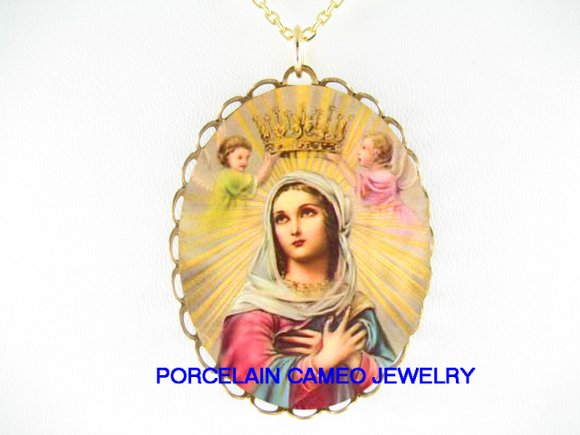 CATHOLIC CROWN VIRGIN MARY ANGEL PORCELAIN NECKLACE