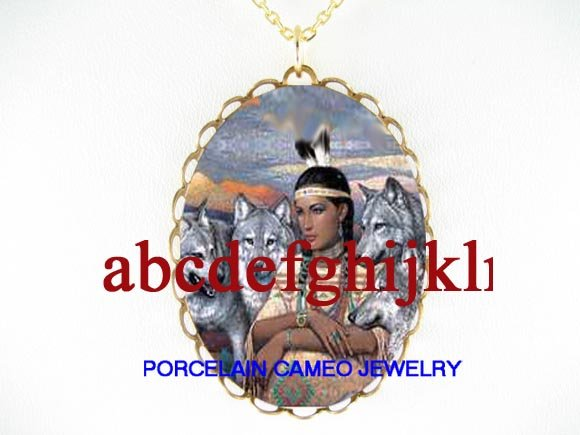 NATIVE AMERICAN LADY GREY WOLF CAMEO PORCELAIN NECKLACE
