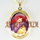 RED HAT YELLOW TABBY CAT SOCIETY PORCELAIN CAMEO VINTAGE SMALL LOCKET