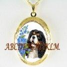 Cavalier King Charles Spaniel DOG FORGET ME NOT PORCELAIN CAMEO VINTAGE ANTIQUE LOCKET
