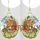 YELLOW KITTY CAT FROG  PORCELAIN CAMEO EARRINGS