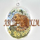 YELLOW KITTY CAT FROG  PORCELAIN CAMEO SILVERTONE LOCKET