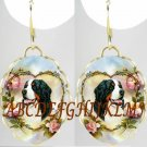 BERNESE MOUNTAIN DOG ROSE HEART PORCELAIN EARRINGS