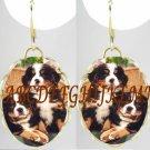 BERNESE MOUNTAIN DOG 2 PUPPY PORCELAIN CAMEO EARRINGS