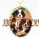 BERNESE MOUNTAIN DOG 2 PUPPY PORCELAIN CAMEO NECKLACE