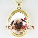 PUG DOG COLORFUL DAISY PORCELAIN CAMEO ANTIQUE VINTAGE LOCKET NECKLACE