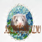 CUTE FERRET FORGET ME NOT CAMEO PORCELAIN NECKALCE