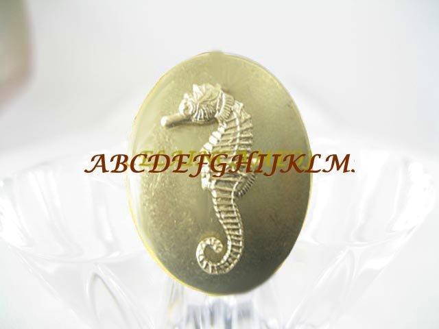 GOLDEN SEAHORSE ANTIQUE VINTAGE BRASS LOCKET RING 5-9