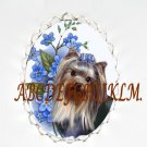 YORKSHIRE YORKIE DOG FORGET ME NOT CAMEO PORCELAIN PIN PENDANT