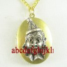 2 TONE HAPPY CLOWN VINTAGE ANTIQUE OVAL LOCKET NECKLACE