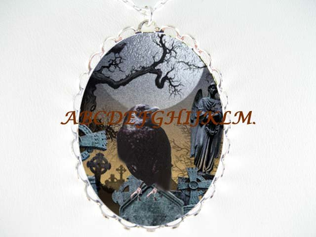 CROW RAVEN GRAVEYARD CROSS CEMETERY MOON TREE NECKLACE