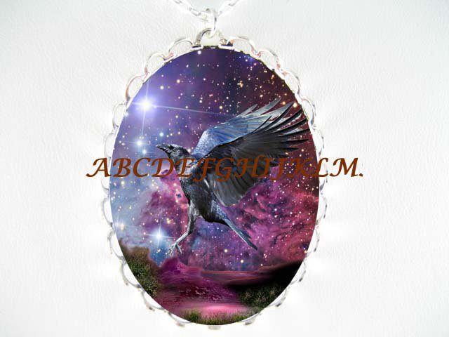 CROW RAVEN PURPLE NIGHT NORTH STAR PORCELAIN CAMEO NECKLACE