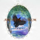 CROW RAVEN BIRD TREE CIRCLE OF LIFE PORCELAIN CAMEO NECKLACE