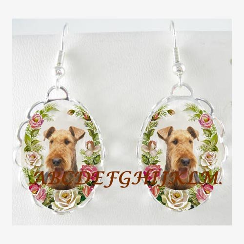 AIREDALE TERRIER DOG PINK ROSE PORCELAIN CAMEO EARRINGS