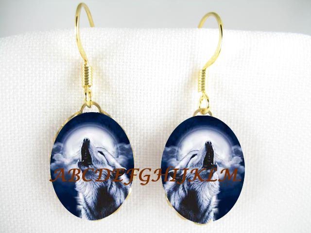 BLUE WOLF HOWLING MOON CAMEO PORCELAIN EARRINGS