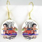 BETTY BOOP CHEVY CAR ROUTE 66 PORCELAIN CAMEO EARRINGS