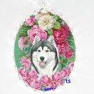 SIBERIAN HUSKY DOG PINK ROSE CAMEO PORCELAIN NECKLACE