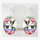 TOY FOX TERRIER DOG MOM BABY ROSE BUTTERFLY * CAMEO PORCELAIN EARRINGS
