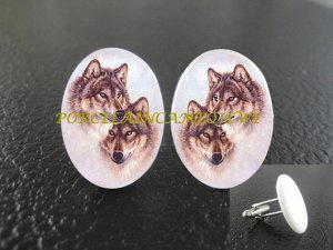 .2 loving grey wolf wolves Porcelain Cufflinks custom initial wedding