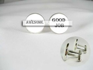 good job awesome Porcelain men Cufflinks Custom keepsake groomsmen wedding boss sports