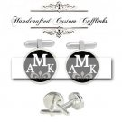 custom monogram 3 initial men Cufflinks groom groomsmen Wedding Anniversary birthday graduation
