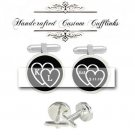 custom initial 2 love heart est.special day men Cufflinks groom groomsmen custom Wedding