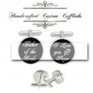 father bride groom i love daddy papa dad men Cufflinks groomsmen Wedding brithday anniversary