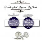 father bride groom love dad always little girl blue men Cufflinks Custom Groom groomsmen Wedding