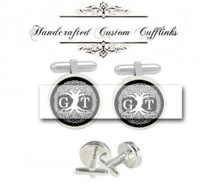 custom initial celtic tree men Cufflinks groom groomsmen Wedding Anniversary father husband birthday