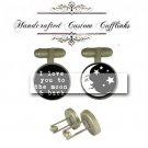 love you to moon stars back antique brass men Cufflinks Custom Groom groomsmen Wedding birthday gift