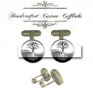 family yin yang tree circle life antique brass Cufflinks wedding groom birthday husband gift