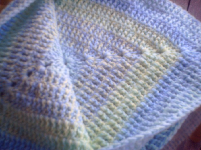 Blue, Yellow and Green double thick throw