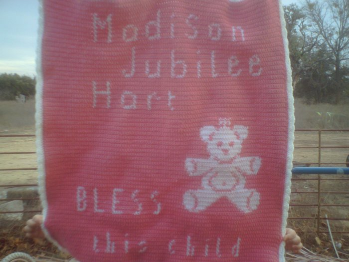 Pink and white Personalized Teddy Bear throw