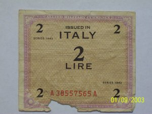 Allied Military issued 2 Lire bill.
