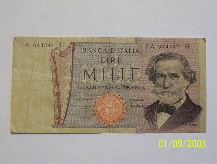 1,000 Lire bill & 500 Lire bill