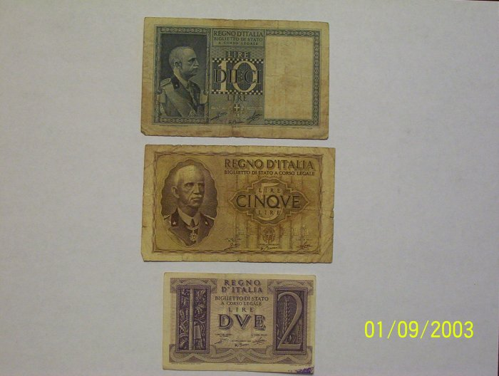 10, 2, and 5 Lire Bills